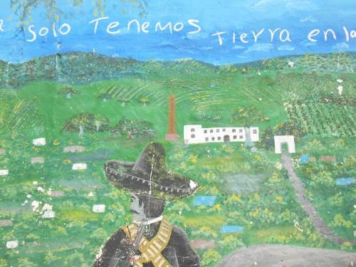Imagen de El grafiti histórico en las calles de Morelos (propio), Representación de Zapata, fragmento de un mural colectivo en Chinameca, Ayala (atribuido)