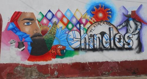 Imagen de El grafiti histórico en las calles de Morelos (propio), Grafiti dedicado a los chinelos de Tlayacapan (atribuido)