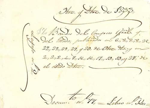Imagen de Decreto para poner el título de Benemérito de la Patria a Vicente Guerrero (atribuido)