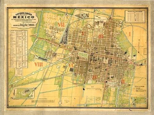 Imagen de Plano de la Ciudad de México con nueva división de los cuarteles y nomenclatura de calles (atribuido)