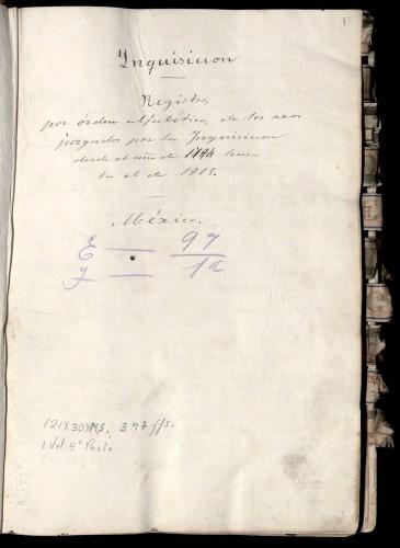 Imagen de Registro por orden alfabetico de los reos jusgados por la inquisicion desde el año de 1794 hasta el de 1815 (propio)