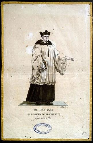 Imagen de Religioso de la Orden de Grandimonte, según van a Coro (propio)