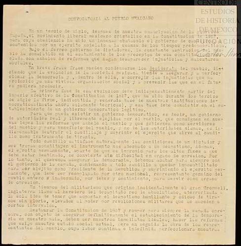 Imagen de Proyecto de manifiesto del General Felipe Ángeles (atribuido)