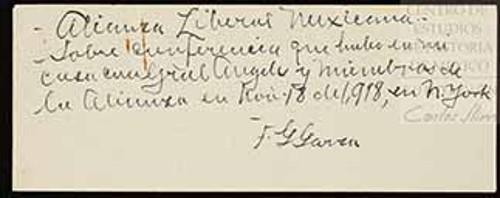Imagen de Sobre conferencia que hubo en mi casa con el general Ángeles y miembros de la Alianza en noviembre 18 de 1918, en Nueva York (atribuido)