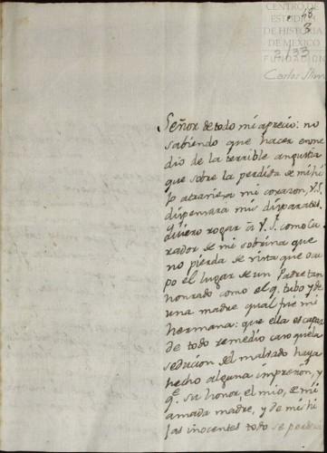 Imagen de Carta de Agustín Pomposo Fernández al oidor Miguel Bataller suplicándole clemencia en el juicio a su sobrina Leona Vicario (atribuido)
