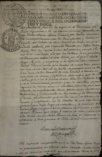 Imagen de Edictos en los que se emplaza a Leona Vicario a comparecer ante las autoridades, luego de su fuga del Colegio de Belén (atribuido)