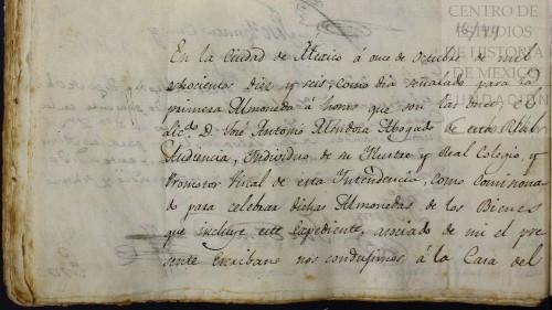 Imagen de Acta de la primera almoneda de los bienes de Leona Vicario (atribuido)