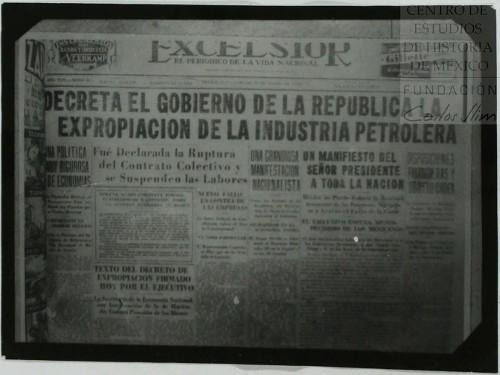 Imagen de La prensa publica a grandes titulares la expropiación de la industria petrolera (atribuido)