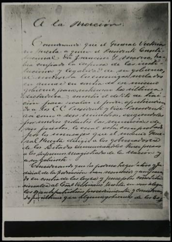 Imagen de Primera página del original del Plan de Guadalupe (propio)