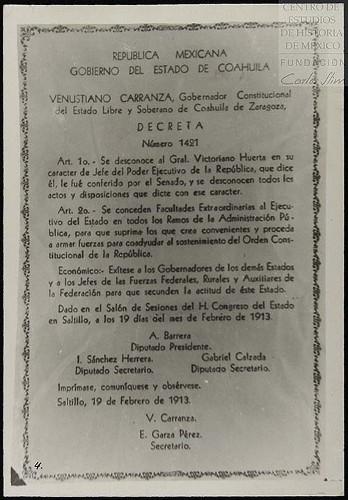 Imagen de Decreto número 1421 del gobierno constitucional del estado de Coahuila desconociendo al gobierno espurio del general Victoriano Huerta (atribuido)