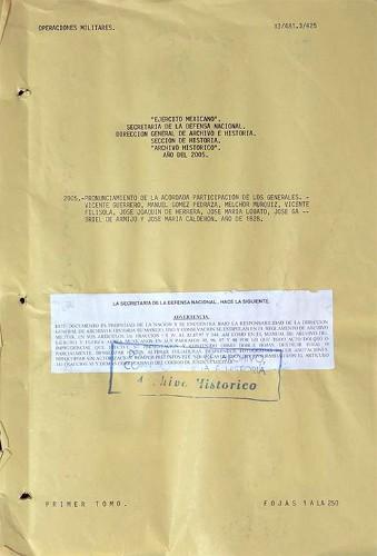 Imagen de Pronunciamiento sobre la Acordada participación de los Generales Vicente Guerrero, Manuel Gómez Pedraza; Melchor Muzquiz, Vicente Filísola, José Joaquín de Herrera y otros (atribuido)