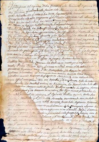 Imagen de Copia del Manifiesto del Supremo Poder Ejecutivo a la Nación, emitido en Palacio Nacional el 16 de mayo de 1823 (propio)