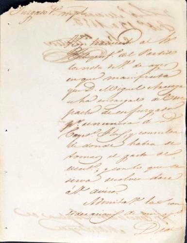 Imagen de Oficio del Juzgado de Miacatlán, febrero de 1853 (atribuido)
