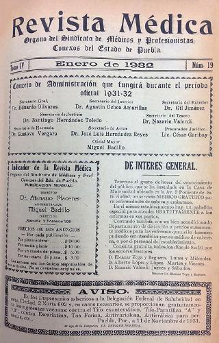 Imagen de Portadilla (propio), Revista Médica: Órgano del Sindicato de Médicos y Profesionistas Conexos del Estado de Puebla (alternativo)