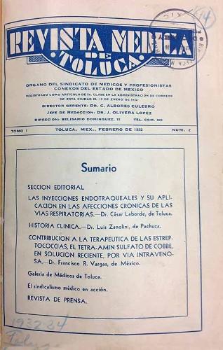 Imagen de Sumario (propio), Revista Médica de Toluca: Órgano del Sindicato de Médicos y Profesionistas Conexos del Estado de México (alternativo)