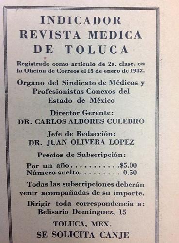 Imagen de Indicador de la Revista Médica de Toluca (propio), Revista Médica de Toluca: Órgano del Sindicato de Médicos y Profesionistas Conexos del Estado de México (alternativo)