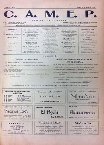 Imagen de Sumario (propio), C.A.M.E.P. Para la divulgación de los conocimientos médicos: Órgano del Centro de Asistencia Médica para Enfermos Pobres (alternativo)