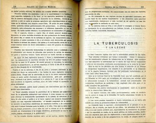 Imagen de La tuberculosis y la leche (propio), Boletín de Ciencias Médicas (alternativo)