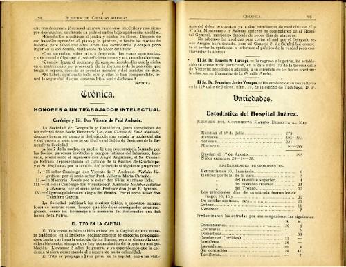Imagen de El tifo en la capital (propio), Boletín de Ciencias Médicas (alternativo)