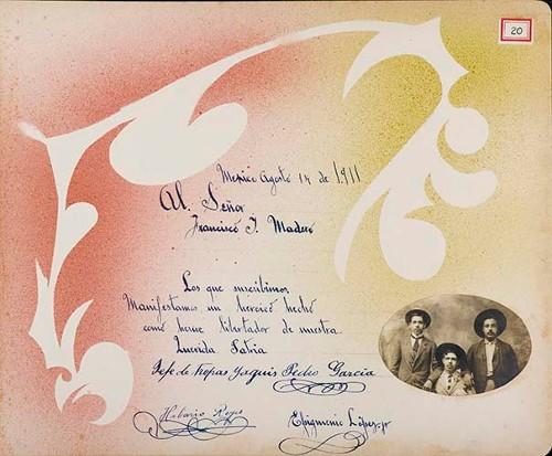 Imagen de Lámina de Pedro García, Jefe de las tropas Yaqui, Hilario Reyes y Epigmenio López Jr.; para Francisco I. Madero (atribuido)