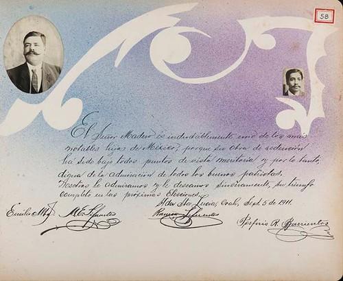 Imagen de Lámina de Emilio Alba [S.], A. E. Sifuentes, Ramón Sifuentes y Porfirio Barrientos; para Francisco I. Madero (atribuido)