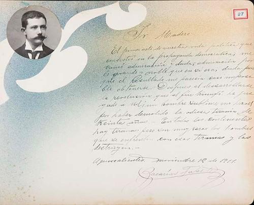 Imagen de Lámina del Dr. Zacarias Topete; para Francisco I. Madero (atribuido)