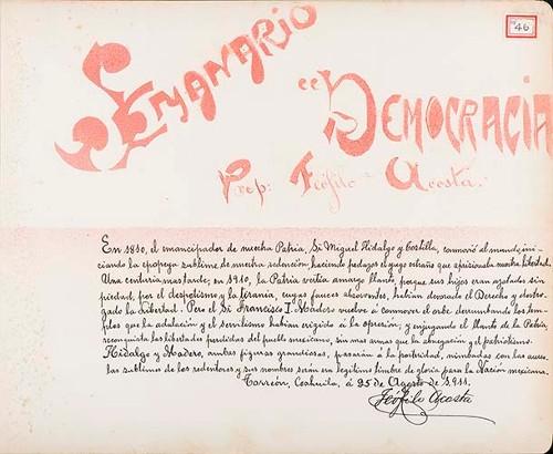 Imagen de Lámina de Teófilo Acosta, prop. Del Semanario Democracia; para Francisco I. Madero (atribuido)