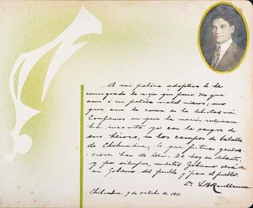 Imagen de Lámina de Dr. L. B. Rasbi; para Francisco I. Madero (atribuido)