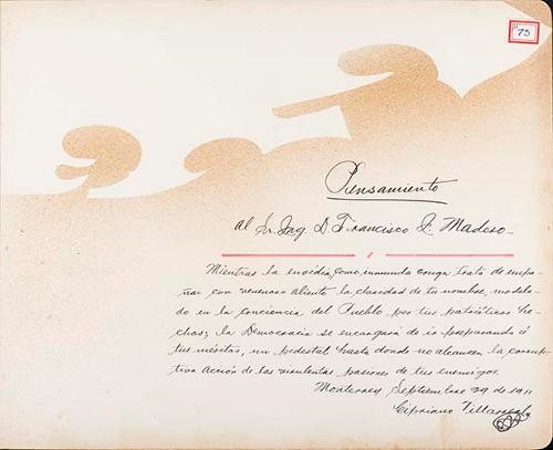 Imagen de Lámina de Cipriano Villareal; para Francisco I. Madero (atribuido)