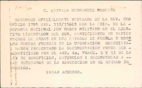 Imagen de Expediente de Estrada Hernández, Modesto