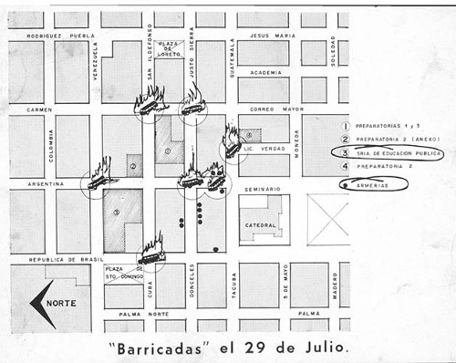 Imagen de Plano de los enfrentamientos de estudiantes y granaderos del 29 de julio de 1968 (propio)