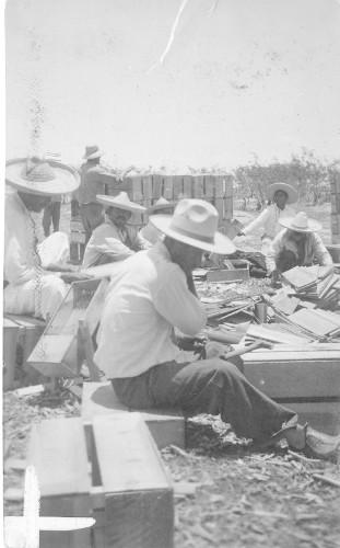 Imagen de Campesinos elaborando cajas de madera (propio)