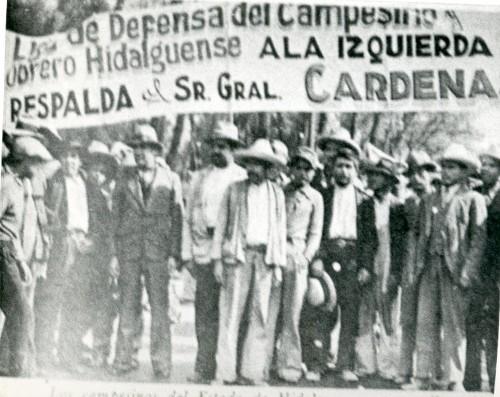 Imagen de Manifestación de la Liga de Defensa del Campesino y Obrero Hidalguense en apoyo del presidente Lázaro Cárdenas (propio)