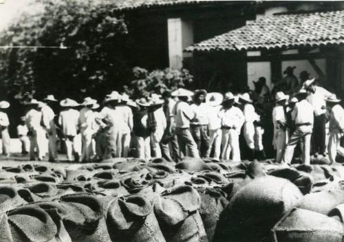 Imagen de Campesinos recibiendo grano (propio)