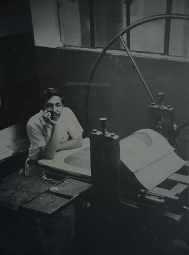 Imagen de Jesús Martínez en el taller de grabado de la Academia de San Carlos (atribuido)