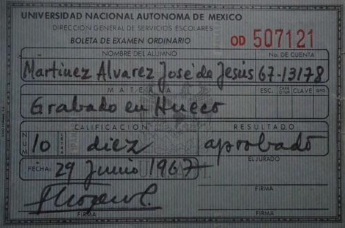 Imagen de Boleta de calificaciones de la Academia de San Carlos. Grabado en hueco (atribuido)