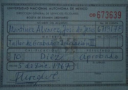 Imagen de Boleta de calificaciones de la Academia de San Carlos. Taller de grabado Inic. II (atribuido)