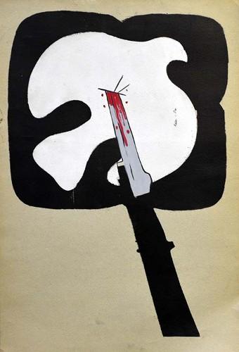 Imagen de Paloma de la paz atravesada por una bayoneta (propio)