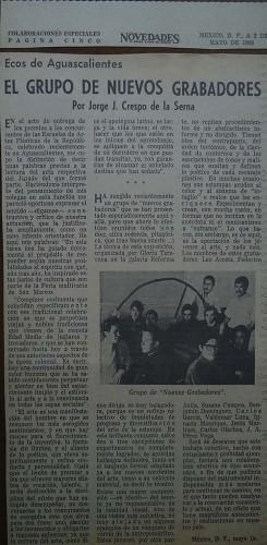 Imagen de Artículo del periódico Novedades sobre el grupo Nuevos Grabadores en el periódico Novedades (atribuido)