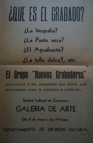 Imagen de Volante que invita a evento del grupo Nuevos Grabadores (atribuido)