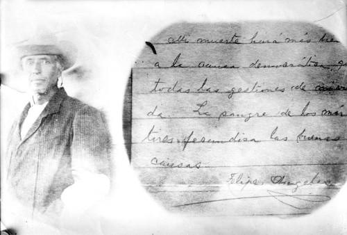 Imagen de Carta de Felipe Ángeles con doble exposición de fotografía a un lado