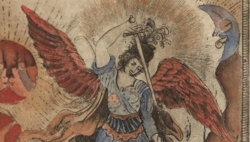 Imagen de San Miguel, de la carpeta Nuevo Catecismo para Indios Remisos (propio)