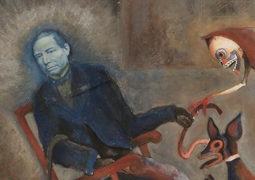 Imagen de Juárez sentado con la muerte y un coyote (propio)