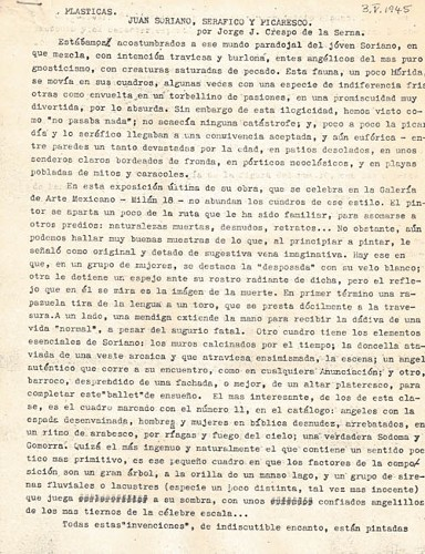 Imagen de Plásticas. Juan Soriano Seráfico y Picaresco (propio)