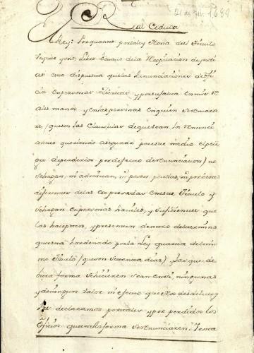 Imagen de Real cédula del 21 de febrero de 1689 (propio)