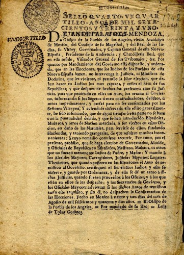 Imagen de Ordenanza dada por el virrey Juan de Palafox y Mendoza, el 23 de agosto de 1642 (propio)