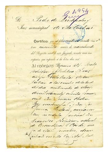 Imagen de Copia certificada de Acta de nacimiento de Benita Rodríguez y Michelena (atribuido)