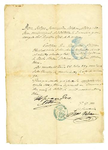 Imagen de Copia certificada de Acta de nacimiento de Leopoldo Chillón Mateos (atribuido)