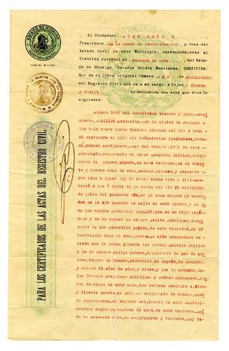 Imagen de Copia certificada de Acta de nacimiento de Margarita Chillón (atribuido)