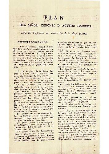 Imagen de Plan del señor coronel D. Agustín Iturbide. Copia del Suplemento al número 14 de la Abeja poblana (propio), Copia del Plan de Iguala (alternativo)